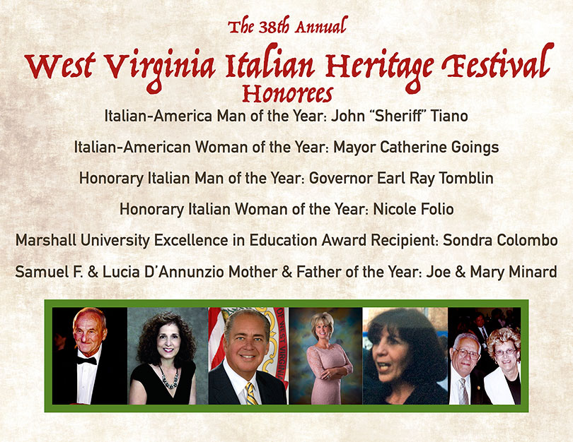 The 38th Annual West Virginia Italian Heritage Festival Honorees