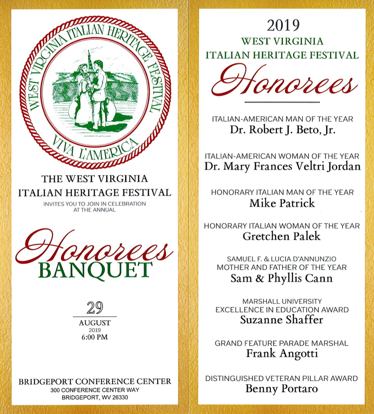 West Virginia Italian Heritage Festival Honorees